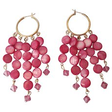 Beautiful Rose Colored Mother Of Pearl And Rose Swarovski Crystal Dangle Earrings