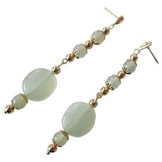 Elegant Sea Foam Green Serpentine And Gold Long Dangle Earrings