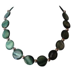 Beautiful Blue-Green Mother Of Pearl Shell Single Strand Necklace