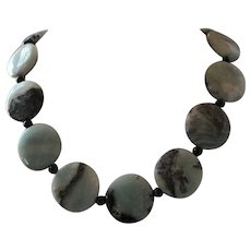 Eye Catching Amazonite With Black Tourmaline And Black Onyx Single Strand Necklace