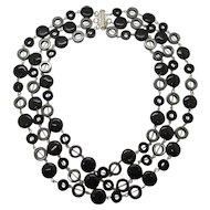 Triple Strand Black Onyx And Hemalyke Necklace