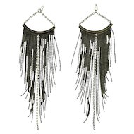 Extra Long Gunmetal Grey Chain Earrings