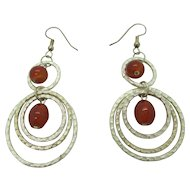 Pretty Carnelian and Silver Plated Dangle Earrings