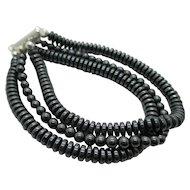 Triple Strand Gunmetal Grey Bracelet