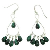 Beautiful Green Malachite And Sterling Silver Infinity Earrings