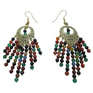 Pretty Multi Colored Agate Chandelier Earrings