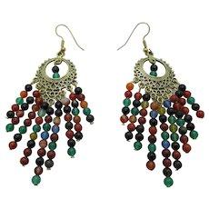 Pretty Multi Colored Agate Chandelier Earrings