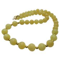 Pretty Yellow Calcite Single Strand Necklace