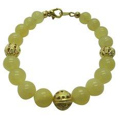 Petty Yellow Calcite Single Strand Bracelet