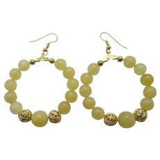 Pretty Yellow Calcite Hoop Earrings