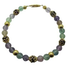 Beautiful Multi Colored Rainbow Flourite Bracelet