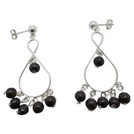 Dark Red Garnet And Sterling Silver Dangle Earrings