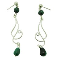 Elegant Sterling Silver And Green Malachite Dangle Earrings