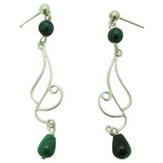 Elegant Sterling Silver And Green Malachite Dangle Earrings