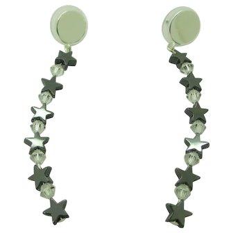 Shooting Stars Hemalyke And Swarovski Crystal Earrings