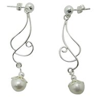 Simple Elegance White Lotus Pearl And Sterling Silver Dangle Earrings
