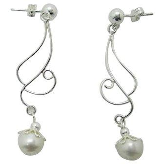 Simple Elegance White Lotus Pearl And Sterling Silver Dangle Earrings