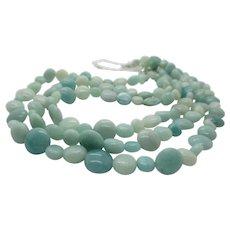 Pretty Aqua Triple Strand Amazonite Necklace