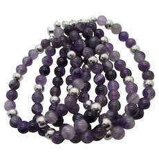 Beautiful Five Stand Banded Amethyst Bracelet