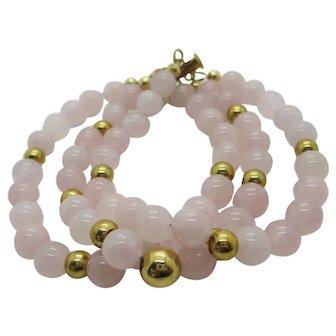 Beautiful Rose Quartz Triple Strand Bracelet