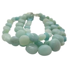 Pretty Triple Strand Aqua Amazonite Bracelet