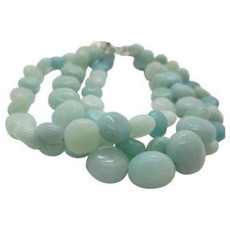 Pretty Triple Strand Aqua Amazonite Bracelet