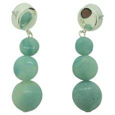 Pretty Aqua Amazonite Dangle Earrings