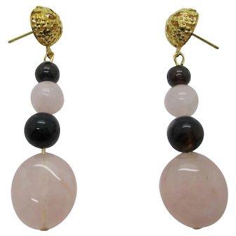 Pretty Rose Quartz And Garnet Dangle Earrings