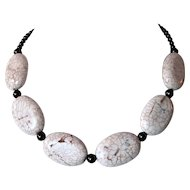 White Magnesite And Chocolate Brown Swarovski Pearl Necklace