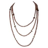 Triple Strand Of  White Lotus Natural Peach Color Cultured Pearl Necklace