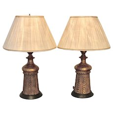 Pair of Vintage Italian Gilt Wood Tassel Table Lamps