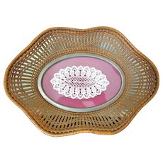 Fine Antique French Basket with Lace Decor on Base