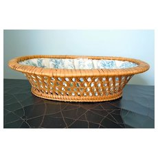 Antique French Basket Lined with Toile