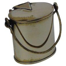 Rare Antique Brass English Dairy Can Vesta, Match Safe