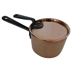 Rare Antique Small Copper Saucepan with Lid