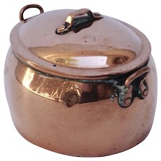 Antique English Copper Oval Covered Pot, Inkwell