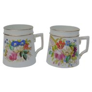 Pair of Beautiful Hand Painted Antique Mugs, Flowers