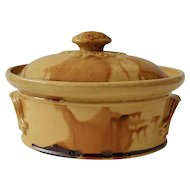Antique French Country Pottery Tureen, Confit Pot Gold, Yellow