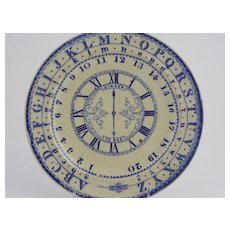 Staffordshire Child's Plate with Alphabet, Numbers, Clock
