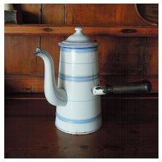 French Enamelware Chocolate Pot White & Blue