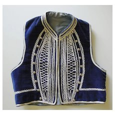 Child's Navy Velvet Vest with White Braid & Silver Studs