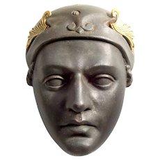 Antique Bronze Mask of Mercury