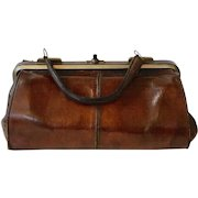 Antique French Gladstone Leather Doctors Bag