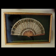 RESERVED - Beautiful Antique Fan in a Gold Boxed Frame
