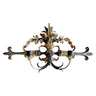 Antique Italian Hand Carved Wood & Tole Sconce with Gilt Accents