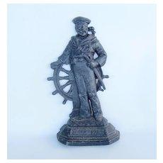Antique English Cast Iron Sailor Door Stop, Britain's Pride, Nautical
