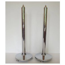 Pair of Rare Mid-Century Modern 1930's Chrome Candle Holders, Art Deco, Candlesticks