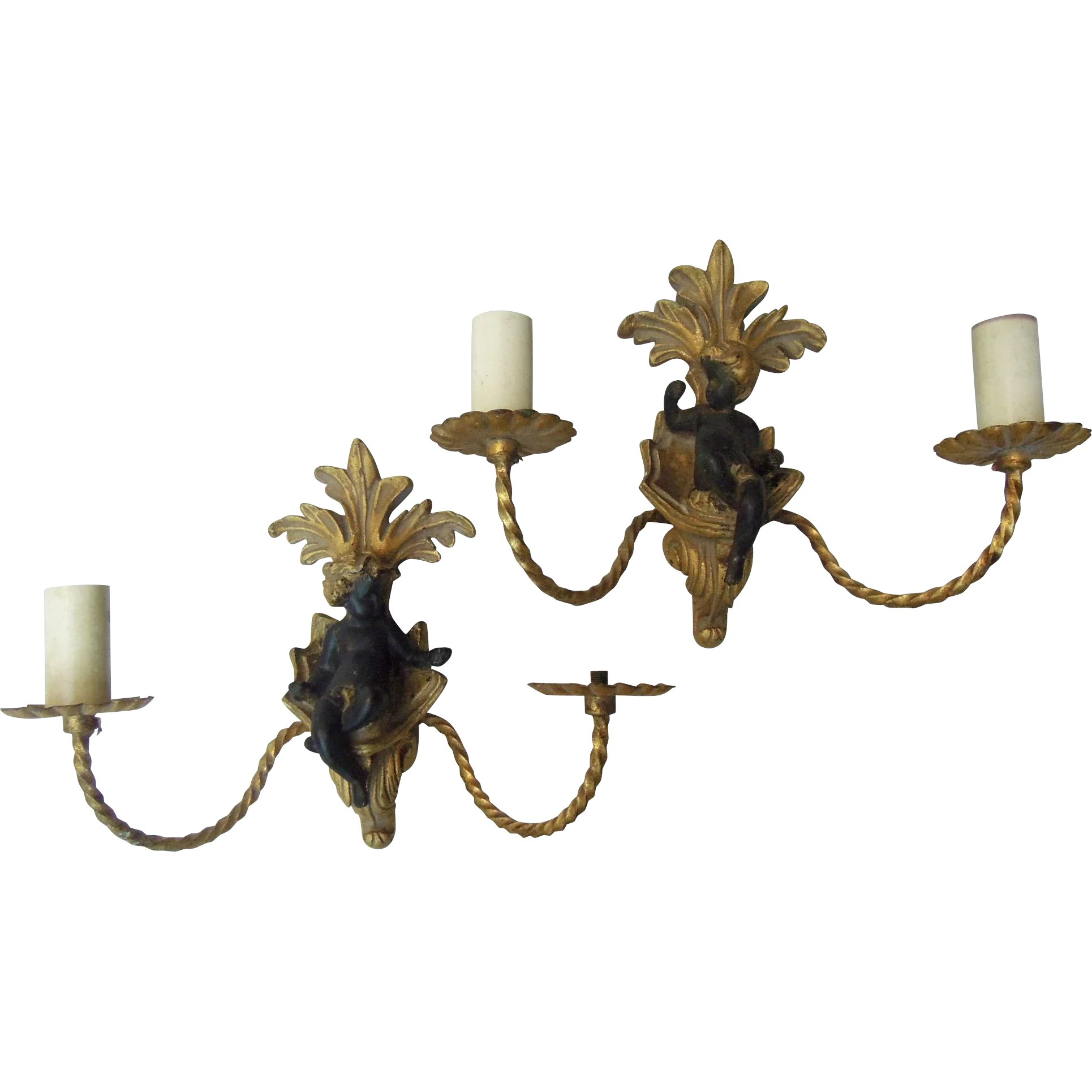 Pair of Vintage Cherub Italian Sconces with Gilt  The Uncommon Market | Ruby Lane  sc 1 st  Ruby Lane & Pair of Vintage Cherub Italian Sconces with Gilt : The Uncommon ...