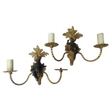 Pair of Vintage Cherub Italian Sconces with Gilt