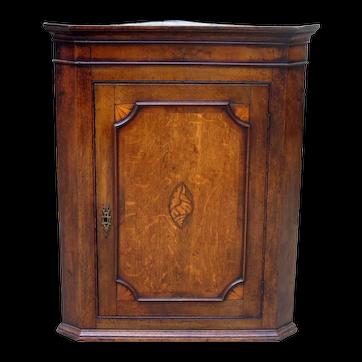 Charming Antique English Oak Corner Display Cabinet